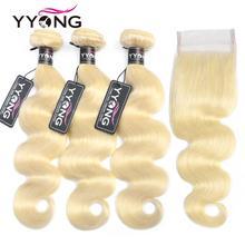 Yyong 613 zestawy z zamknięciem brazylijski ciało fala ludzkich włosów blond zestawy z zamknięciem zamknięcie koronki z wiązkami 4 sztuk/partia Remy