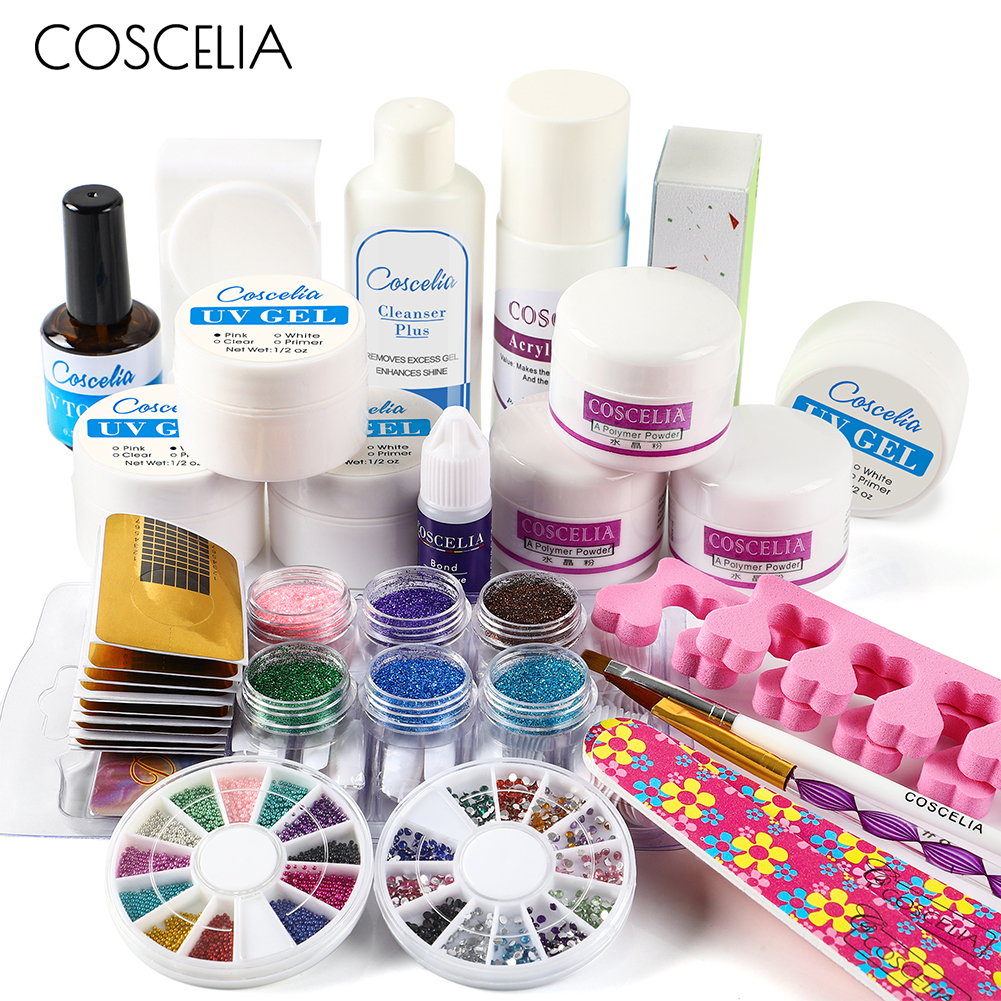 COSCELIA Pro Acrylic Nail Kit Manicure Pedicure Tools Set Nail Set UV Gel Nail Art Tools Acrylic Powder Manicure Tools Set Kits