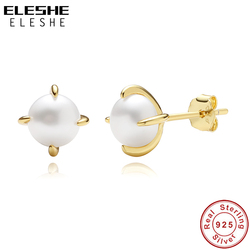 ELESHE Authentic 925 Sterling Silver Freshwater Pearl Earrings 2020 Fine Jewelry with 18K Gold Plated Wedding Earrings For Women