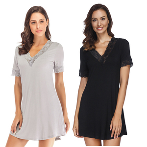 2020 new V-Neck Modal Cotton Women Home clothing Nightgowns night gown Lace Loose Sleepwear Short Sleeve sexy Nightdress