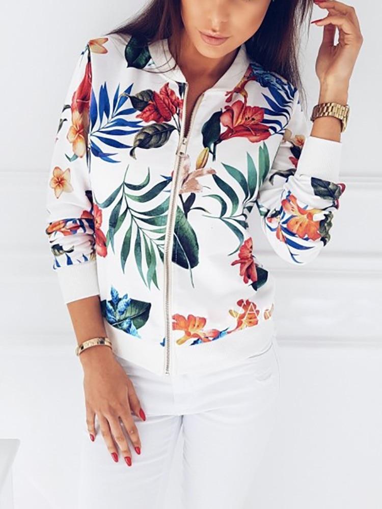 Woman Coat Plus Size Printed Bomber Jacket 2020 Women Pockets Zipper Long Sleeve Coat Female Flower Chiffon White Jacket Woman