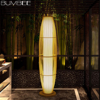 New Chinese Creative Bamboo Floor Lamp Modern Living Room Minimalist Floor Lamp Bamboo Floor Lamp Wood Flooring Standing Lamp