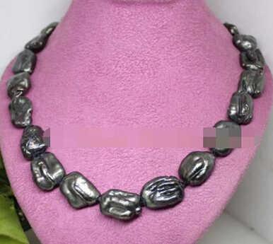 """Beauté 15-20mm baroque noir énorme biwa perle pierre collier fait main 18"""""""