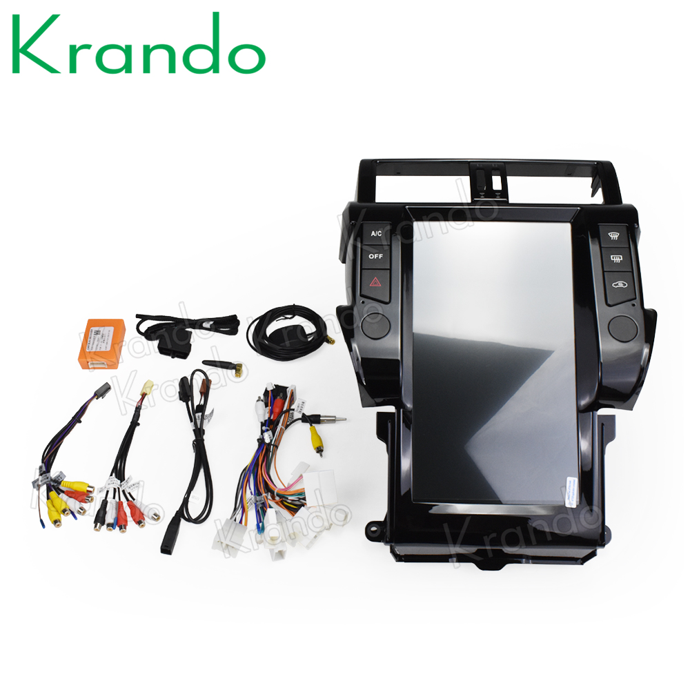 "Top Krando Android 8.1 13.6"" Vertical screen car radio player gps for Toyota Prado 150 2014-2017 gps navigation multimedia system 5"
