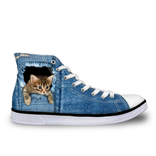 Customized 2019 Hot Women's High Top Vulcanize Shoes Cute 3d Animal Cat Denim Printed Classic Woman Casual Lace-up Canvas Shoes