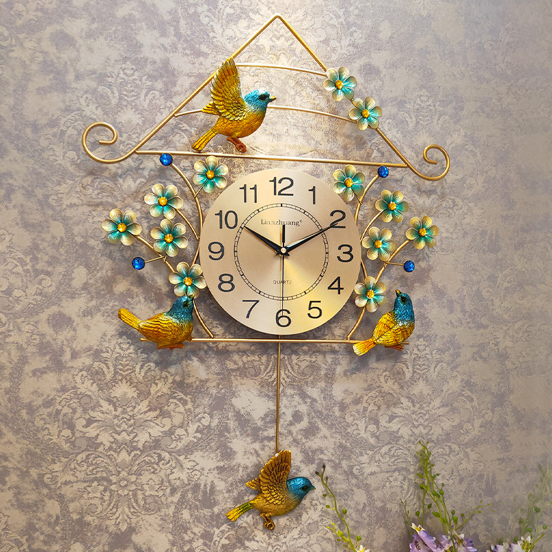 Creative Golden Wall Clock With Swing Hanging Bird For Girl Kid Bedroom Silent Wall Clock Hanging Quartz Clocks Watch Wall Arts