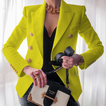 Women's New Solid Color Fashion Sexy Multi Buttons 2020 Summer And Autumn Casual Suit Office Wear Elegant Short Coat FC996 11