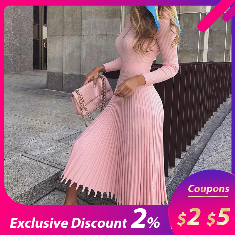 Elegant Party Pleated Sweater Midi Dress Women 2019 Winter Autumn Pink Office Ladies Knitted Vestido Sexy Slim Plus Size Dresses