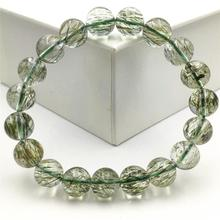 Genuine Natural Green Rutilated Tourmilated Quartz 11mm Clear Round Beads Bracelet Women Men Fashion Best Stone AAAAA huge pair of 11mm natural tahitian genuine black perfect round pearl earring