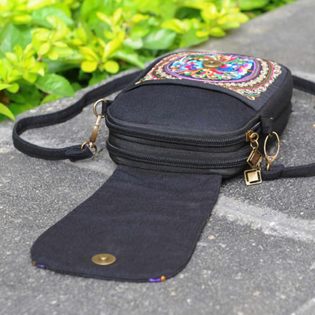 Wanita Gaya Etnik Bordir Retro Tas Bahu Mini Dompet Koin Tas Kecil