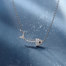 Silver Fish bone Pendant Short Necklace 925 AAA Zircon Punk personality For Women Girl Birthday Present Jewelry