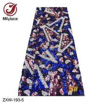 Milylace 2019 new African lace fabric 5 yards multi-colorful sequined tulle lace fabric high quality for party dresses ZXW-193