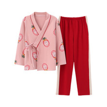 Pajama womens spring and autumn cotton long sleeve Japanese lovely kimono Korean version sweet home clothes set wint