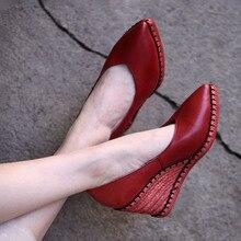 Artmu Origional Retro Hemp Rope Pointed Toe Shoes Women Red High Heels