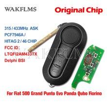 3 Button Remote Flip Car Key 315 433Mhz For Fiat 500 Grande Punto Doblo Qubo 2006 2007 2013 DelphiBSI with PCF7946 Chip