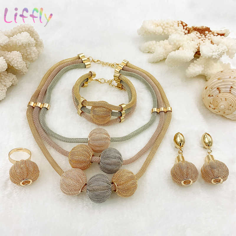 Liffly Dubai Gold Jewelry Sets for Women Necklace Bracelet Ball Shape Earrings Ring Creative Wedding Jewelry Sets for Bride