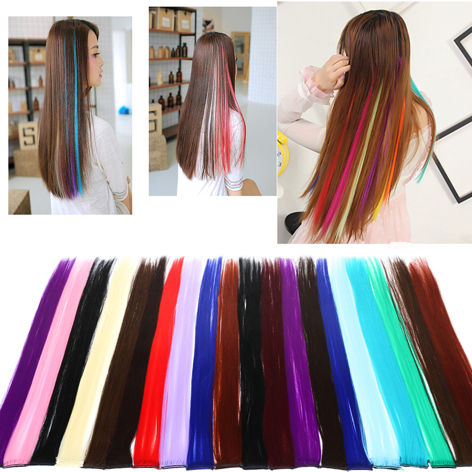 Haa75a74959b74d29b3aeffa33167c6ce0 - Lupu Rainbow Highlighted Hair Girl One Chip In Hair Extension Synthetic Long Straight Hair Clip Hair Clip Straight Hair