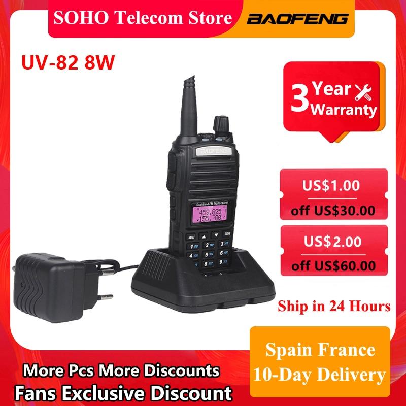 Baofeng UV-82 walkie-talkie uv82 8w 10km faixa de rádio em dois sentidos vhf uhf banda dupla ptt botão portátil ham rádio caça transceptor