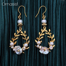 S925 Silver Needle Vintage Shell Natural Pearl Earrings Women High-grade Elegant Exquisite French Ladies Baroque Leaves Earring