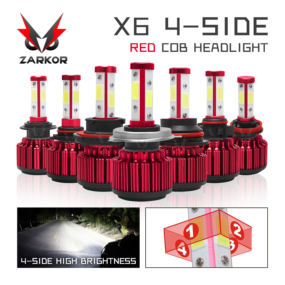 Zarkor h7 farol automotivo com led, 20000lm 4 lateral 360 ° 200w h4 h11 9005 9006 hb3 hb4 turbo lâmpada de farol de led para carro, 12v 24vx6 h7