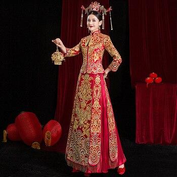 High Quality Embroidery Add Rhinestone Women Bride Wedding Dress Vintage Button Cheongsam Oriental Classic Tang Suit Vestidos