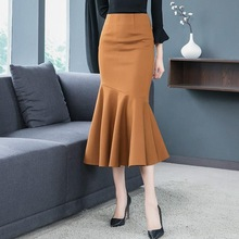 2019 Plus Size 3Xl Sexy Slim High Waist Fishtail Skirts Empire Vintage Trumpet Mermaid Long Skirts empire waist plus size cut out t shirt