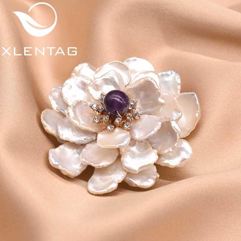XlentAg ธรรมชาติสดน้ำไข่มุกดอกไม้เข็มกลัดสำหรับผู้หญิง Femme Bijoux Amethyst Agate เข็มกลัด Dual ใช้เครื่องประดับ GO0100
