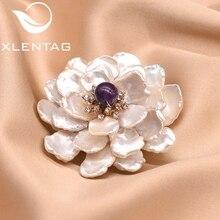 XlentAg Natural Fresh Water Baroque Pearl Flower Brooch For Women Femme Bijoux Amethyst Agate Brooch
