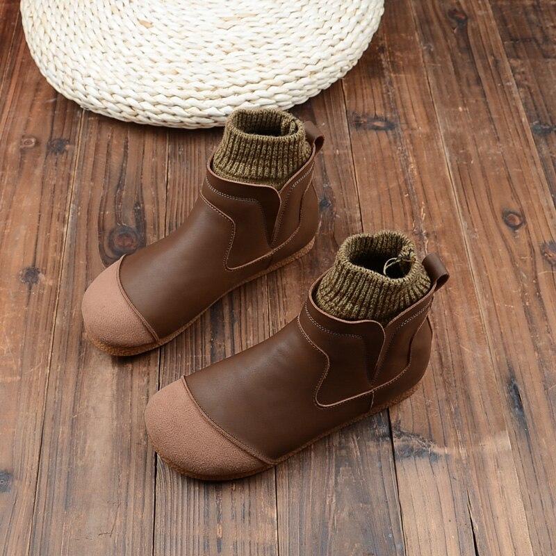 Mori Retro Literary Womens Boots Plus Velvet Soft Leather Flats Ankle Boots Handmade Comfort Wild Chelsea Short Boots Women Shoe
