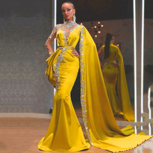 Cape Party-Dresses Prom-Gown Satin Rhinestones Dubai Arabic Long-Sleeves Mermaid Gold