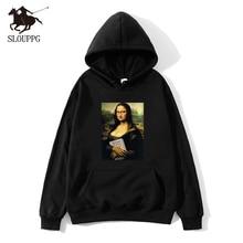 2019 new Pullover Casual male hoodies loose Band Mona Lisa spoof Print cotton hip hop  Hoodies streetwear Men
