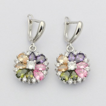Natural Multicolor Cubic Zirconia Earrings 925 Sterling Silver Jewelry Drop Dangle Earrings With Stone For Women Wedding natural stone 925 sterling silver drop earrings fine jewelry earrings for women aj