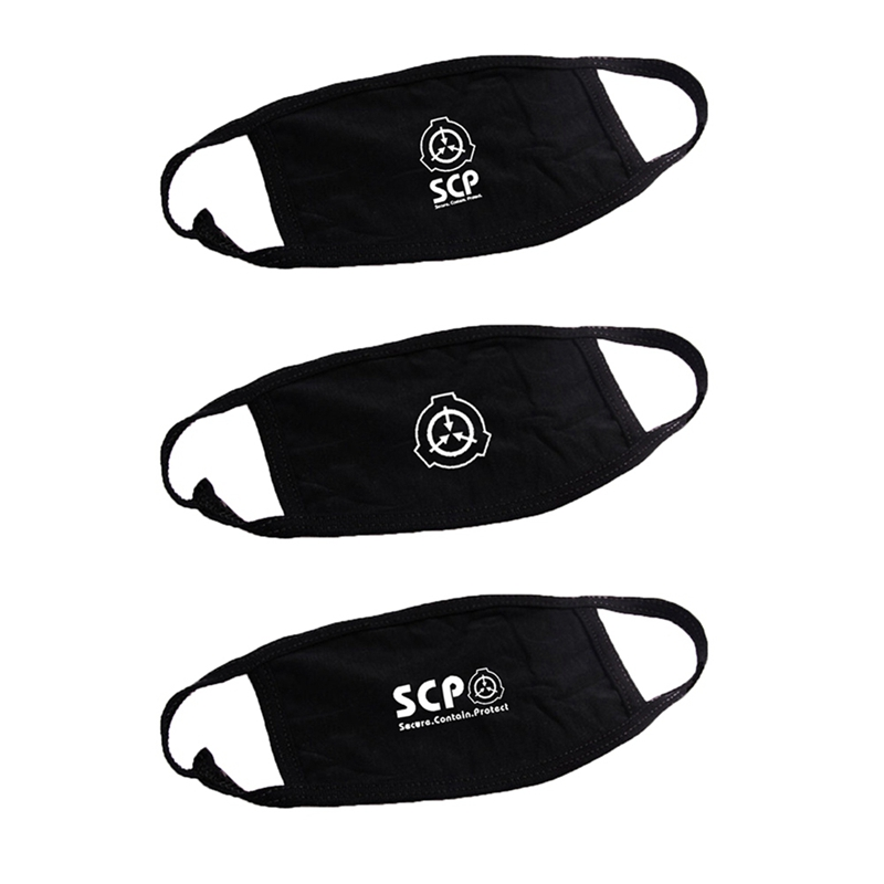 1 PC The SCP Foundation Cotton Masks For Women Men Black Dustproof Facial Cover Breathable Face Mask Dropship New Arrival