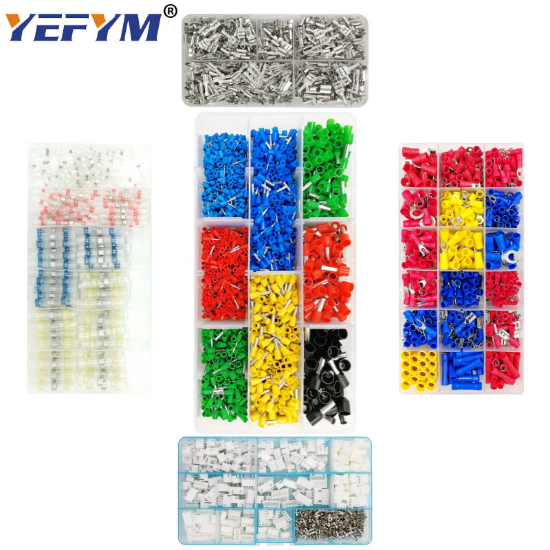 YEFYM tube insulating crimp terminals insulating ring terminals plug tab 2.8 4.8 6.3 terminator connector block 9 kinds box set