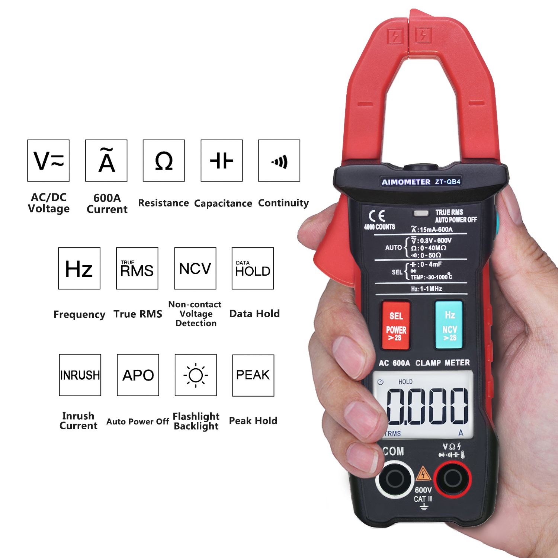 Amperímetro digital 600a, medidor de voltagem automática,