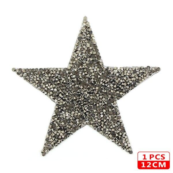 Стразы со звездами, смешанные размеры, нашивки, нашивки с вышивкой, термо-Стикеры для одежды, 5 видов цветов, блестки, нашивки для одежды, сделай сам - Цвет: 12cm Gray 1pcs