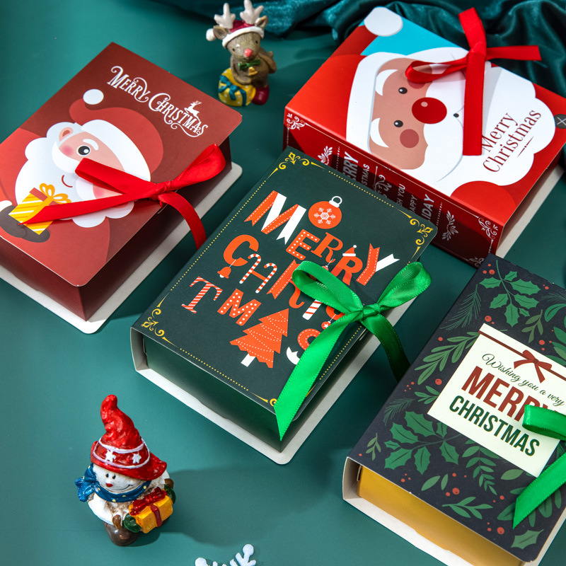 4Pcs Book Shape Merry Christmas Candy Boxes Bags Christmas Santa Claus Gift Box Navidad Natal Noel Party Decoration Supplies