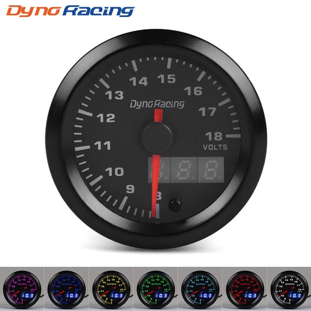 Dynoracing-52MM-Dual-Display-Voltmeter-7colors-Led-Volt-Gauge-8-18V-Voltage-gauge-Car-meter-with