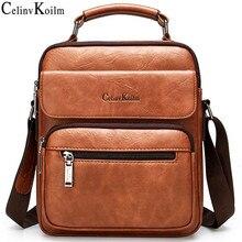 Celinv Koilm 큰 크기 남자 핸드백 9.7 인치 iPad 캐주얼 비즈니스에 대 한 유명한 브랜드 남자 가죽 Crossbody 어깨 메신저 가방