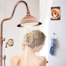 Cabezal de ducha de latón antiguo redondo de 8 pulgadas montaje en pared rosa dorado Vintage Grifo de ducha de baño producto para el hogar ducha de lluvia