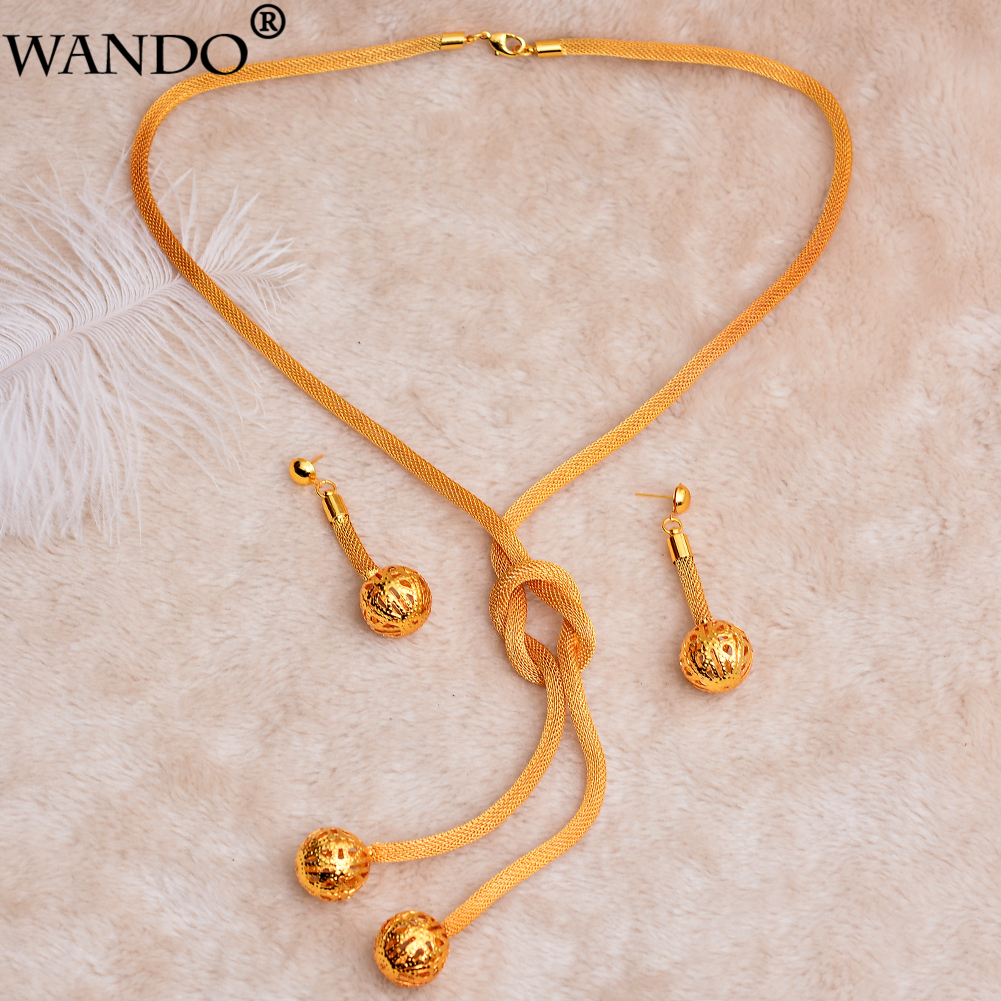 WANDO Gold Necklace Earring Set Party Gift Vintage Bead Jewelry Sets Daily Wear Mother Gift DIY Charms Women Girls Fine Jewelry