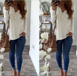 Sexy Long Sleeve T-shirt Women Casual V-neck Slim Fit Tee Female Warm Spring Autumn Basic T-shirts Pull Femme Buttons Top