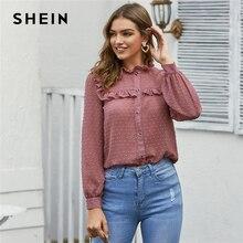 SHEIN Pink Swiss Dot Frill recortado camisa pura blusa mujer primavera manga larga cuello de pie Oficina señora elegante blusas abotonadas