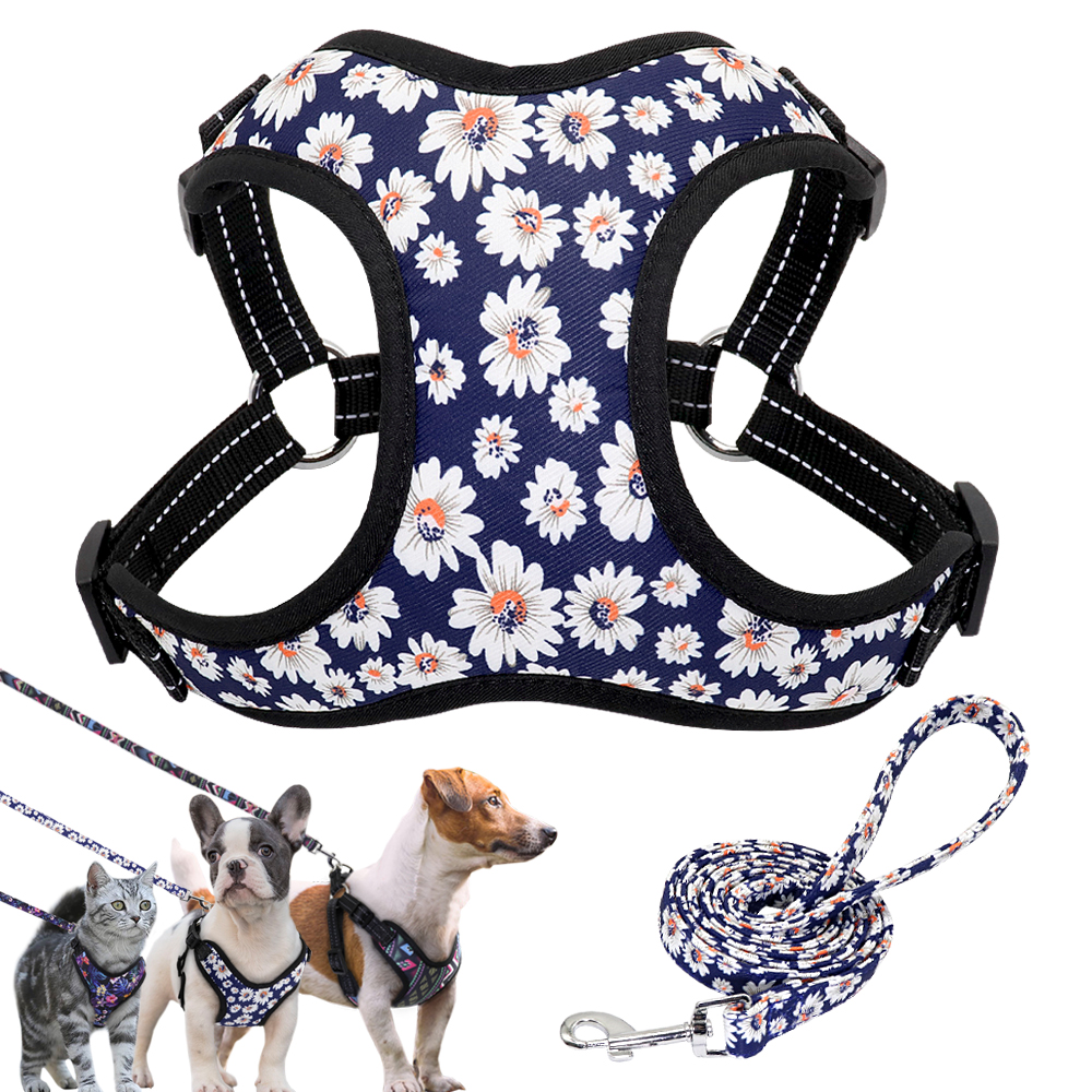 Nylon Dog Harness No Pull Pet Harnesses And Leash Set Dog Puppy Harness Vest Leash For Small Dogs Chihuahua French Bulldog