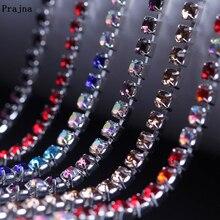 Prajna 1 Yard/lot Transparent Rhinestone Chain Trim AB Color Rhinestones Sewn For Cloth Wedding Dress Crystals Handiwork F