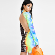 Rainbow Backless Sexy Bodycon Club Party Dress Women Stand Tie-Dye Print Mini Casual High Street Hollow Out Biker Dresses
