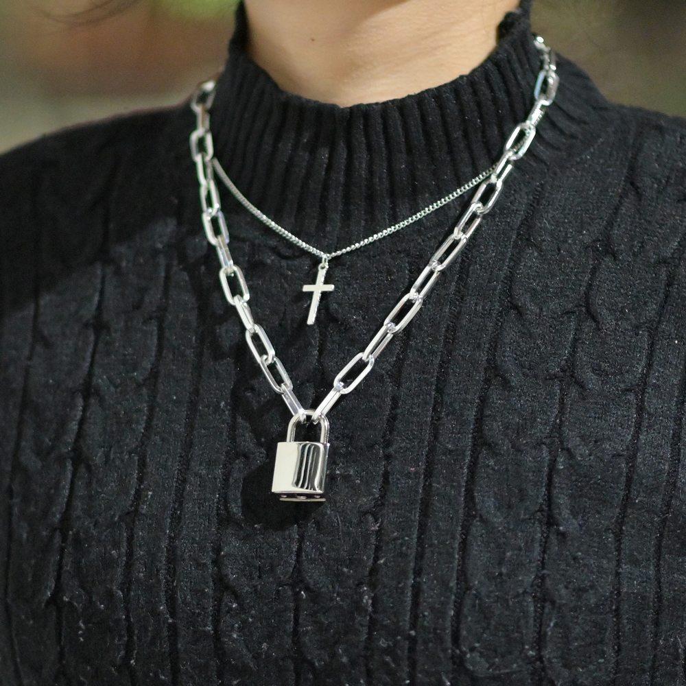 Diezi Hip Hop Vintage Double Layer Chain Necklace Men Fashion Punk Chain Cross Key Lock Pendant Necklace Women Gothic Jewelry Pendant Necklaces Aliexpress