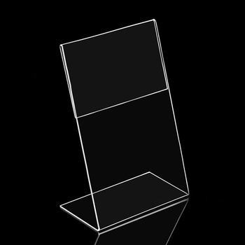 5 sztuk akrylowe przezroczyste stojak na karty biurko znak ramka etykiety metka wystawowa etui na karty A6 1 3mm uchwyt na etykiety z ceną stojak tanie i dobre opinie VIVIDCRAFT acrylic display stand Krótki Posiadacze posiadacze kart uwaga SQUARE Kariera Miękkie plastikowe plastic Label Holder Stand