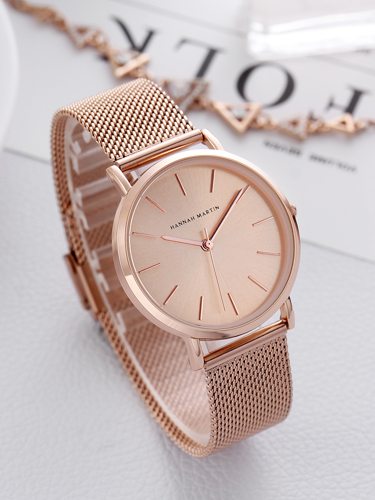 Full-Rose-Gold Wrist-Watch Stainless-Steel Waterproof Women Ladies Luxury Band Quartz-Movement