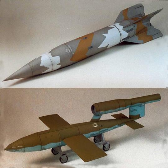 58cm 2Pcs V1/V2 Missile Aerospace Rocket DIY 3D Paper Card Model Building Sets Construction Educational Toys Military Model